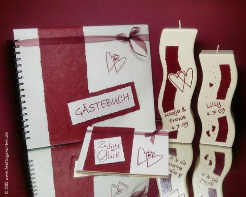 Hochzeits Set: Einladungskarte, Gästebuch, Traukerze und Taufkerze, Embossing Stempeltechnik