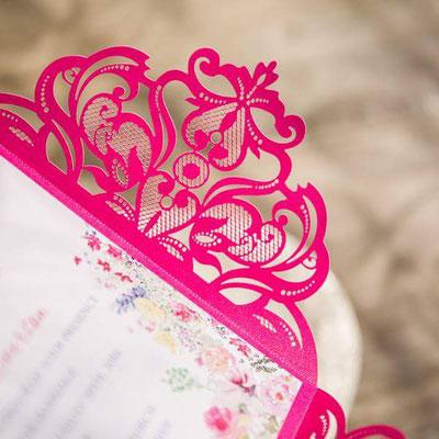 Lasercutkarte magenta spitze boho wedding