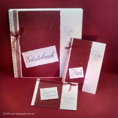 Hochzeits Set: Einladungskarte, Menükarte und Gästebuch, Embossing Stempeltechnik