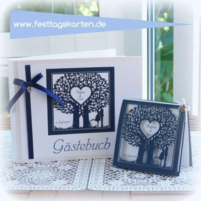 """Hochzeits Set: Einladungskarte und Gästebuch Lasercut Karte """"Forever Love"""" #AZL0014"""