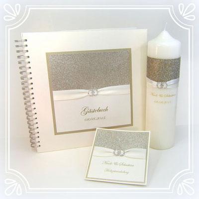 Set aus Einladungskarte, Gästebuch und Traukerze
