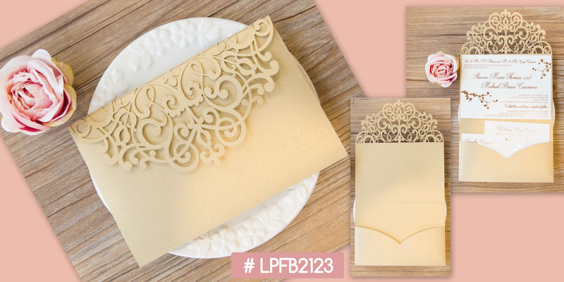 Lasercut Pocket Fold Karte #LPFB2123, Metallic Gold