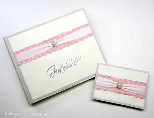 Hochzeits Set: Einladungskarte und Gästebuch, Spitzen- und Satinband, Brosche 22