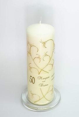 Kerze zu Goldenen Hochzeit, Dekor Wachs, handgelegt