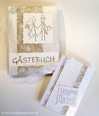 Hochzeits Set: Einladungskarte und Gästebuch, Glitterkarton. Embossing Stempeltechnik