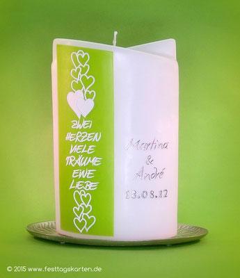 """Hochzeitskerze """"... eine Liebe"""", Dekor und Beschriftung Wachs, handgelegt"""