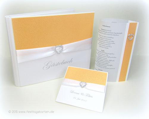 Hochzeits Set: Einladungskarte, Gästebuch und Menülaternchen. Glitter Apricot, Satinband und Embellishment.