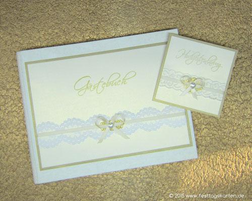 Hochzeits Set: Einladungskarte und Gästebuch, Spitzenband, Satinbändchen mit Schleife, Embellishment und Perlherzchen
