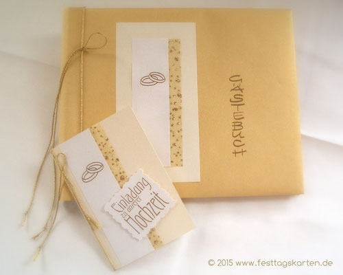 Hochzeits Set: Einladungskarte und Gästebuch, Brokatband. Embossing Stempeltechnik