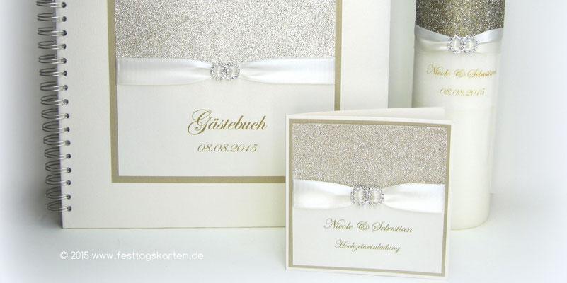 Einladungskarte, Gästebuch und Hochzeitskerze mit Doppelring Straßbrosche