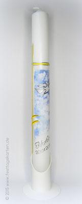 Taufkerze, Wolkenprint, Dekor und Beschriftung Wachs, handgelegt
