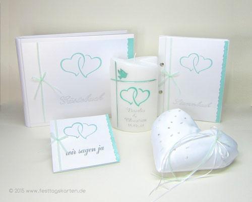 Hochzeits Set: Einladungskarte, Gäste- und Stammbuch, Traukerze und Ringkissen. Silhouette Schneide- und Sketchtechnik, Embossing Stempeltechnik