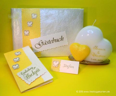 Hochzeits Set: Einladungskarte, Namenskärtchen, Gästebuch und Traukerze. Embossing Stempeltechnik