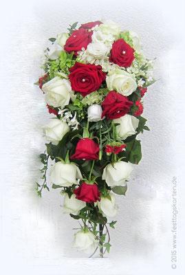 Brautstrauß Rosen Rot und Weiß, Tropfenform