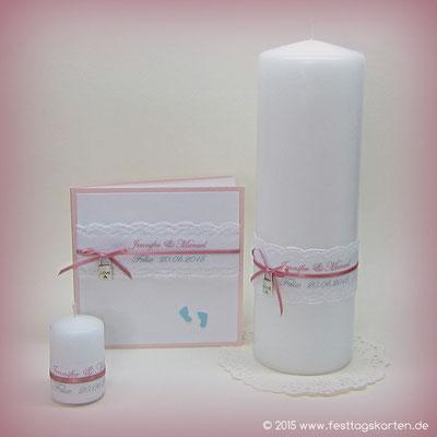 Hochzeits Set: Einladungskarte, Traukerze und Gastgeschenk Kerzchen. Spitze und Satinbändchen, Vorhängeschlösschen