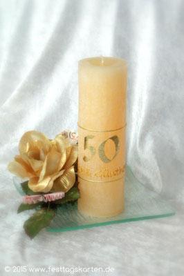 Kerze zur Goldenen Hochzeit, als Geldgeschenk dekoriert