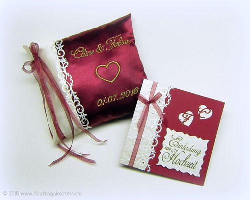 Ringkissen, bestickt und Einladung zur Hochzeit: Ornamentbordüre und Straßsteinchen