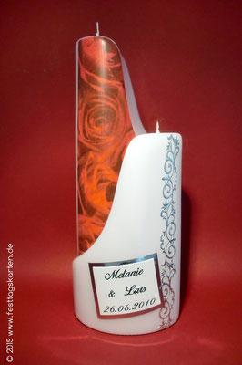 "2-teilige Hochzeitskerze ""Ying & Yang"", Rosendekor mit Ornamentbordüre, Namen gedruckt"