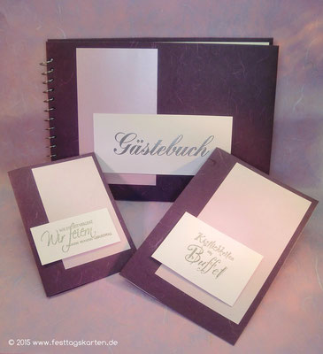 Geburtstags Set: Einladungskarte, Buffetkarte und Gästebuch. Embossing Stempeltechnik