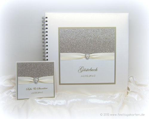 Hochzeits Set: Einladungskarte und Gästebuch, Glitter Gold, Satinband, Straßbrosche 22