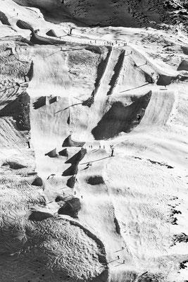 Der Snowpark der Silvretta Montafon am Grasjoch von oben