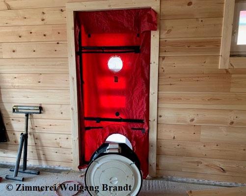 Holzhaus Wolfgang Brandt - Blockhausbau - Blockhaus  - Blower Door Test - Holzbau - Ökologisch Bauen - Testvorbereitung - Finnische  Blockhäuser in Deutschland - Massivholzhaus - Energiesparhaus - Niedrigenergiehaus - Gesundes Wohnen - Niedersachsen - Bau
