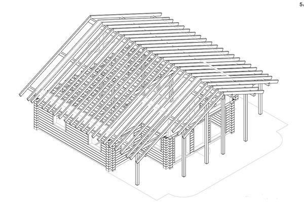 Blockhaus mit Planung - Werkplanung -3D - CAD Zeichnungen - Holzhaus in Blockbauweise - Massivholzhaus als Einfamilienhaus - Hausbau - Blockhausbau in Mecklenburg - Finnische Blockhäuser ab 100 Quadratmeter
