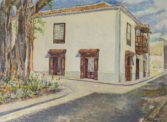 Casa familia Cristellys, 1976.  Óleo sobre arpillera, 75 x 56,5 cm. Col. particular