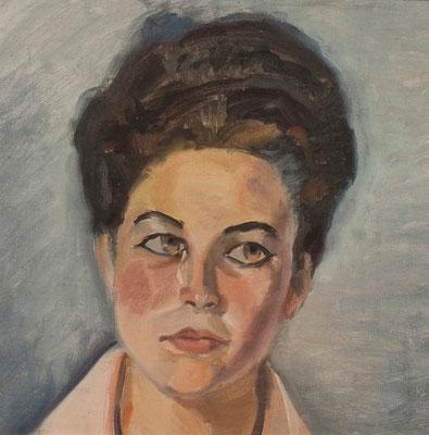 Rosa Arceo.  Óleo sobre tabla, 35,5 x 35,5 cm. Col. familia Macía Bonnet