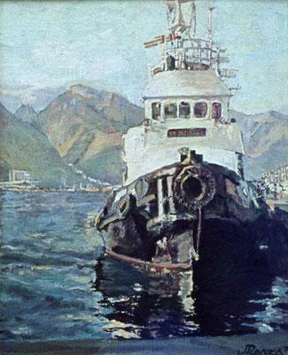 Remolcador del Puerto de Santa Cruz.  Obra no localizada, rescatada del archivo fotográfico del pintor