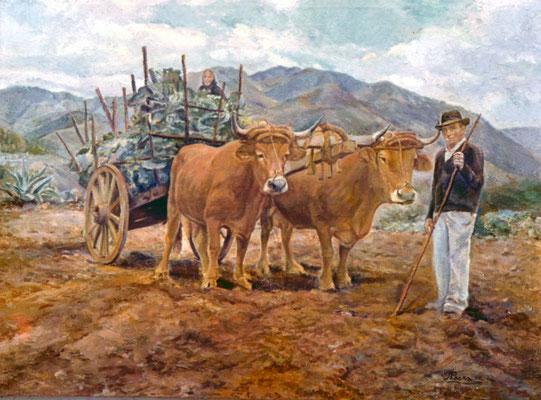 La Carreta.  Obra no localizada, rescatada del archivo fotográfico del pintor