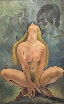 Trilogía del Amor. Óleo sobre arpillera, 67 x 111 cm. Col. familia Macía Bonnet