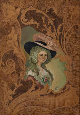 Retrato de una dama inglesa (Duquesa de Devonshire). Óleo y pirograbado sobre tablilla, 24,5 x 35,5 cm. Col. familia Macía Bonnet
