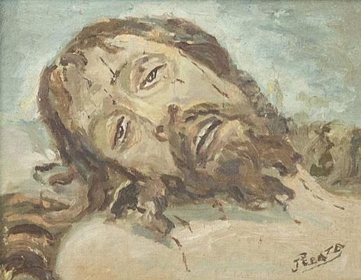 Cristo yacente.  Óleo sobre tabla, 36 x 28 cm. Iglesia parroquial San Alfonso Mª de Ligorio, Los Gladiolos, Santa Cruz de Tenerife