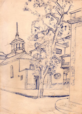 Apunte de la iglesia de La Concepción desde la calle de La Noria.  Técnica mixta sobre papel, Colección familia Macía Bonnet