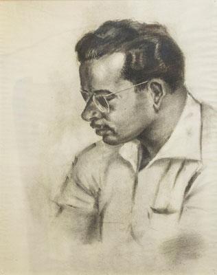 Anónimo. José Peraza. Carboncillo sobre papel, 46,5 x 63 cm. Col. Carmen Peraza González