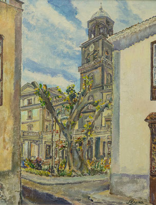 Calle San Francisco (Santa Cruz), 1976.  Óleo sobre arpillera, 56,5 x 74 cm. Col. particular
