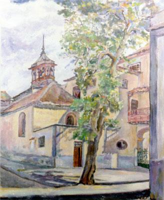 Sin título.  Obra no localizada, rescatada del archivo fotográfico del pintor. La iglesia de La Concepción desde la calle de La Noria. Santa Cruz de Tenerife