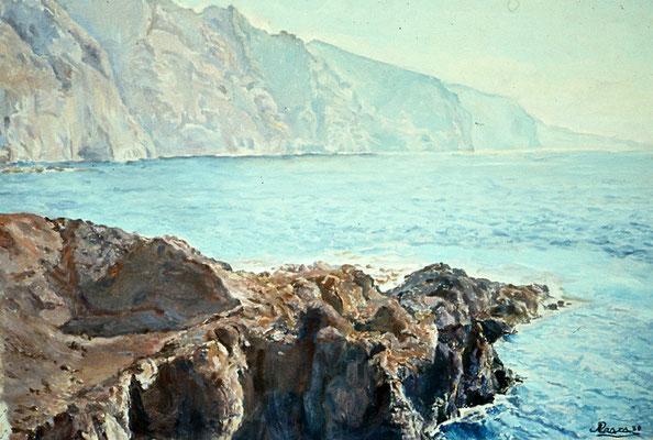 Sin título, 1980.  Obra no localizada, rescatada del archivo fotográfico del pintor. Acantilado de Los Gigantes desde Punta de Teno