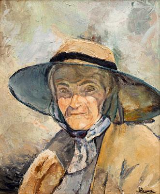 Vieja con sombrero. Óleo sobre lienzo, 44,5 x 53,5 cm. Real Academia Canaria de Bellas Artes