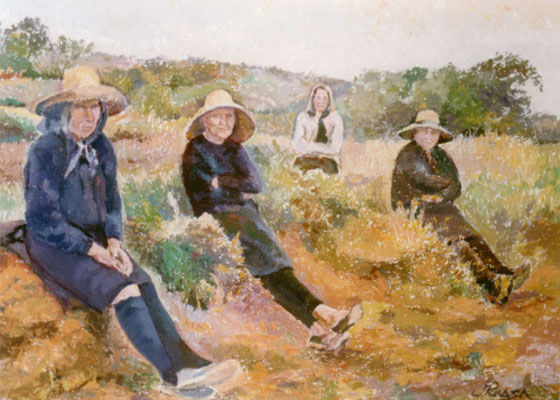 Mujeres descansando.  Obra no localizada, rescatada del archivo fotográfico del pintor