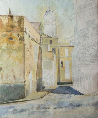Calle San Juan Bautista (Santa Cruz).  Óleo sobre lienzo, 60,3 x 73,3 cm. Col. Carmen Peraza González