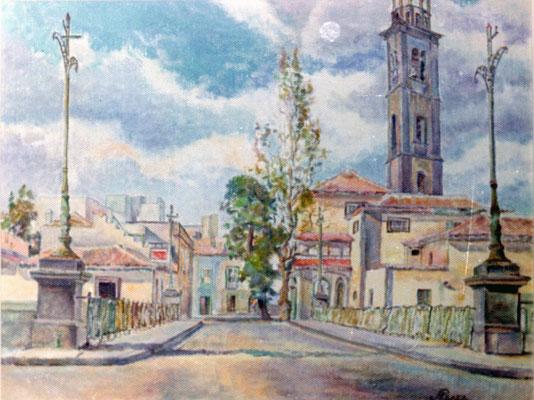 Sin título.  Obra no localizada, rescatada del archivo fotográfico del pintor. Vista del puente de El Cabo y la iglesia de La Concepción, desde el antiguo Hospital Civil de Santa Cruz de Tenerife