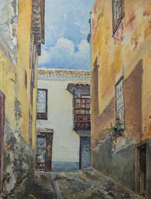 Callejón San Francisco (Santa Cruz), 1976.  Óleo sobre arpillera, 55,5 x 73 cm. Col. particular