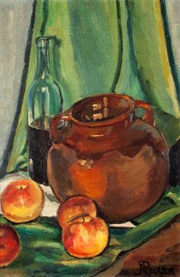 Manzanas y barro.  Óleo sobre tabla, 42,5 x 65,5 cm. Museo Municipal de Bellas Artes de Santa Cruz de Tenerife