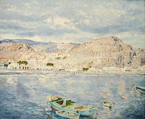 Playa Santiago (La Gomera) II.  Óleo sobre lienzo, 71,5 x 58,5 cm. Col. José Miguel Ramos Noda