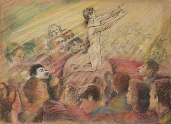 Joven orante.  Pastel sobre papel, 70 x 51,5 cm. Col. familia Macía Bonnet