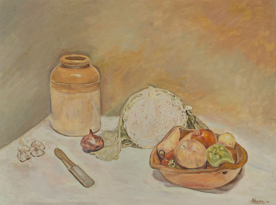 Bodegón con media col.  Óleo sobre lienzo, 90 x 67 cm. Col. José Miguel Ramos Noda
