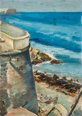 Sin título.  Óleo sobre arpillera, 40,5 x 57 cm. Col. familia Macía Bonnet. Vista de la costa de Santa cruz, posiblemente de la zona de Paso Alto, torreón defensivo