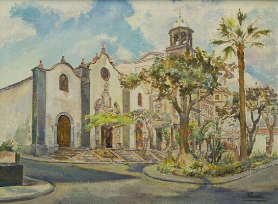 Calle San Francisco (Santa Cruz), 1976.  Óleo sobre arpillera, 75,5 x 56,5 cm. Col. particular